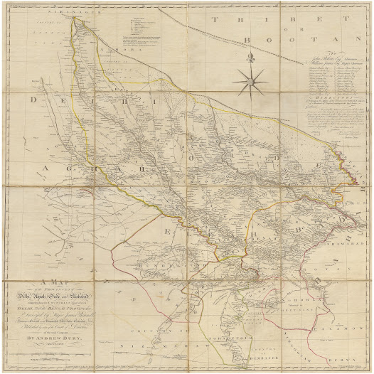 James Rennell <b>Uttar Pradesh, Uttarakhand and Delhi</b> 1777. Copper engraving with original hand colour, 109 x 109 cm.  James Rennell's magnificent wall map of Oudh, representing the first accurate and detailed survey of what is now Uttar Pradesh and adjacent areas, prepared for the British East India Company shortly after it asserted its political dominance over the region.  This magnificent work is the sequel to Rennell's map of Bengal & Bihar, in that it follows the progress of British power up the Ganges Basin. The map is dominated by the depiction of Oudh (also known as Awadh), which is shown to be divided into its traditional subhas. Oudh, which spread along the Gangetic Plain, was long considered to be the 'Breadbasket of India'.