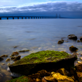 Daylight by Julija Moroza Broberg - Landscapes Weather ( exposure, oresund, water, clouds, sweden, smooth, sea, landscape, nature, blue, denmark, bridge, view, stones, milky, daylight )
