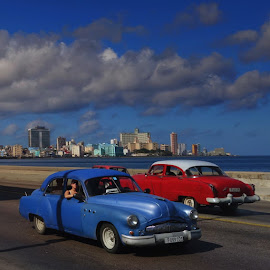 Red & Blue at Malecon, Havana by Dharmali Kusumadi - City,  Street & Park  Street Scenes