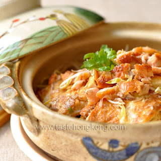 Clay Pot Tofu with Homemade Salted Salmon and Bean Sprouts