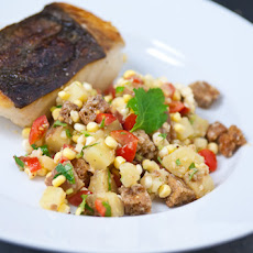 Crispy Halibut with Wasabi Panzanella and Earl Grey Potatoes