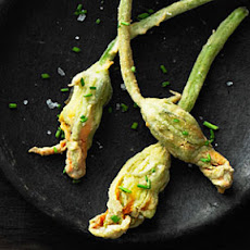 Fried Squash Blossoms with Corn and Mozzarella