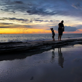 Father & Son At the beach  by Loredana  Smith - People Family ( relaxation romance, ocean, beach, beauty, coastline, landscape, sun, coast, escape, solitude  tourism, tranquil, sky, nature, ripples, idyllic, climate, clouds, water, sand, sea, paradise, traveling, serene, sunset, australia, view, panoramic )