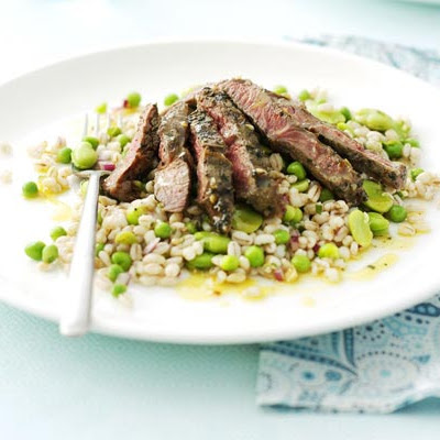 Marinated Lamb Steaks With Barley Salad