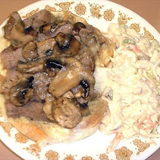 Open-Face Sliced Pork-N-Mushroom Sandwich With Gravy