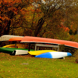 Season's End by DeDe PalmerWells - Transportation Boats ( water, autumn, boats, fall, canoe )