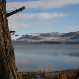 South side Mt Beacon reflected on the Hudson by Alec Halstead - Landscapes Waterscapes