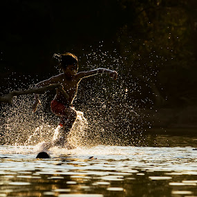 kungfu by Kenji Le - Babies & Children Children Candids ( water, children, vietnam, river )