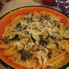 Pasta With Zucchini, Mushrooms and Cannellini Beans in Marinara