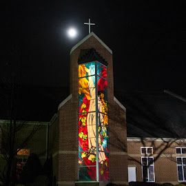 Holding Up The Moon by Lisa Hendrix - Buildings & Architecture Places of Worship ( moon, church, night shot, stained glass, quaint )
