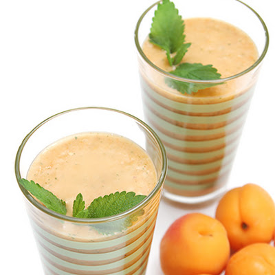 Apricot Smoothie with Almond Milk and Lemon Balm