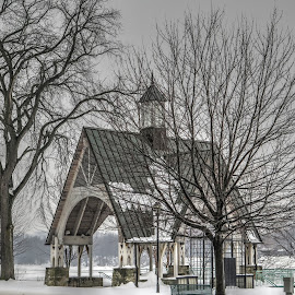 Foggy Winter Day at Kittanning's Riverfront Park by Jim Hoover - Landscapes Weather ( allegheny river, snow, pennsylvania, gazabo )