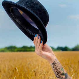 Bowler time by Pete Lebow - Artistic Objects Clothing & Accessories ( wheat, blue, green, arm, yellow, tattoo, bowler, hat )