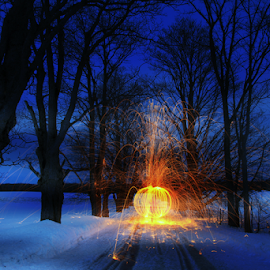 Twilight torch by Kimberley Merrifield - Abstract Light Painting ( light paint, winter, steel wool, trees, landscape,  )