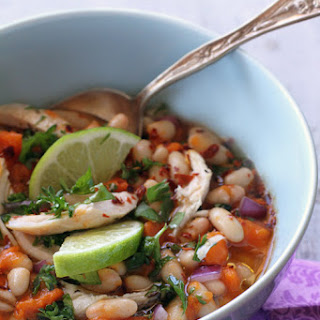 Gluten-Free Chicken Chili with White Beans, Sweet Potato and Lime