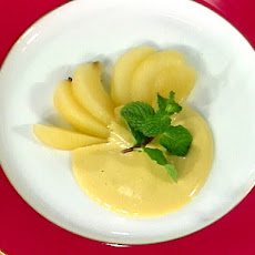 Zabaglione with Quick Poached Pears