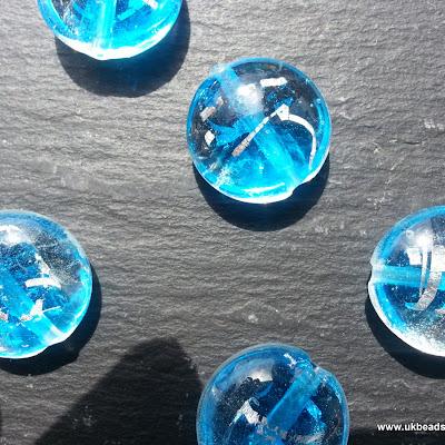 Lampwork Round Beads In Light Blue  x8
