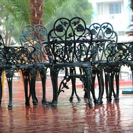 Under heavy rain by Cristian Raifura - Artistic Objects Furniture ( chair, chairs, heavy rain, table, furniture, iron, rain )