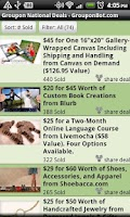 Screenshot of Grouponbot.com Groupon Deals