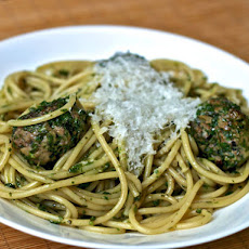 Pasta with Green Meatballs and Herb Sauce