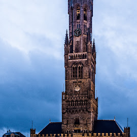 Bruges VI by Pascal Hubert - City,  Street & Park  Historic Districts ( tower, twilight, bruges )