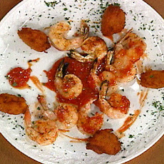 Grilled Shrimp with Sweet Potato Fritters