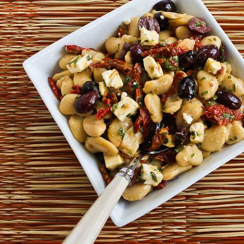 Butter Bean Salad with Sun-Dried Tomatoes, Kalamata Olives, Feta, and Basil Vinaigrette
