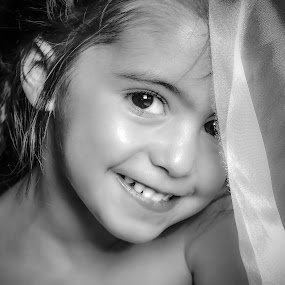 SMILE by Nathalie Gemy - Babies & Children Child Portraits ( child, black and white, child portrait, smile, child girl )