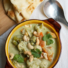 Vegetable Korma with Homemade Curry Paste & Warm Naan