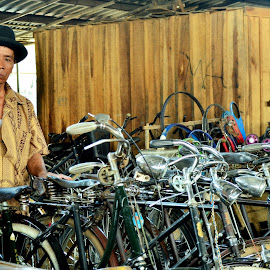 me n' old bicycles by Urip Supriyadi - People Portraits of Men