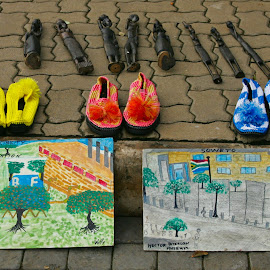Soweto street by Mike O'Connor - City,  Street & Park  Markets & Shops ( shoes, selling, carvings, art, chidlren, soweto, pcitures,  )