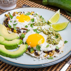 Caramelized Corn and Black Bean Huevos Rancheros with Roast Zucchini Salsa