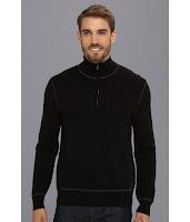 Calvin Klein Jeans - 12gg Solid 1/4 Zip Mock Neck (Black) - Apparel