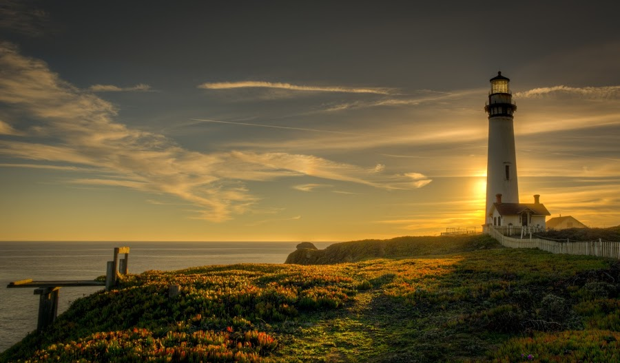 Light behind the Lighthouse by Dan Girard - Landscapes Sunsets & Sunrises ( water, dan_girard_photography, nature, 2014, ocean, seascape, beach, rocks, dan-girard-photography )