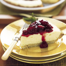 Lemon Chiffon Pie with Glazed Cranberries