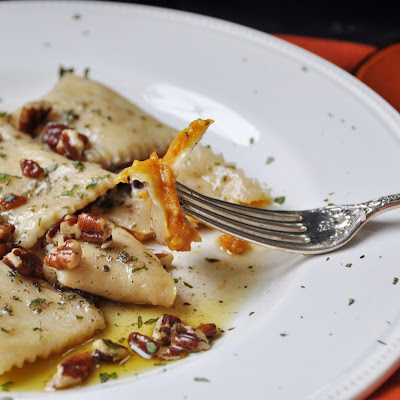 Pumpkin Ravioli with Brown Butter and Sage