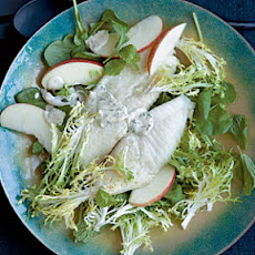 Broiled Tilapia with Frisée-Apple Salad and Mustard-Parsley Sauce