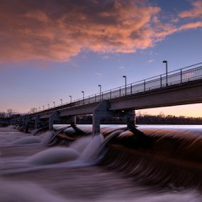 Dam Sunset by Andy Chow - Buildings & Architecture Other Exteriors ( dam, coon rapids, mississippi,  )