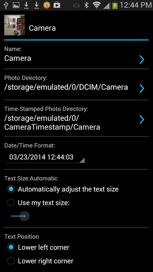 Camera Timestamp Add-on Screenshot 1