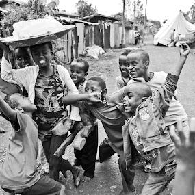Playing by Galli Levy - Babies & Children Children Candids ( black white children play, black and white, b&w, child, portrait,  )