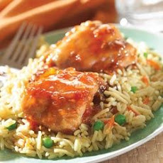 Savory Apricot Chicken with Vegetable Rice