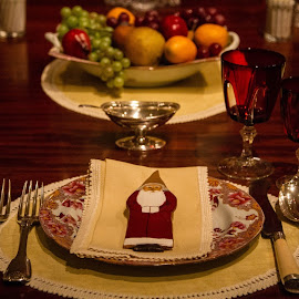 Christmas Setting by Jen Pezzotti - Artistic Objects Cups, Plates & Utensils ( holiday, plates, santa, christmas, utensils )