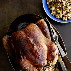 Roasted Capon with Quinoa-Olive Stuffing