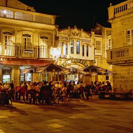 Summer night by Antonio Amen - City,  Street & Park  Street Scenes ( theatre, drink, café, summer, night, bar, talk )