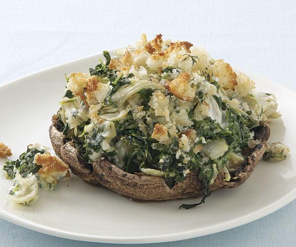 Portabello Mushrooms with Creamy Spinach-Artichoke Filling Recipe ...