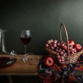 Temptation by Margareth Perfoncio - Artistic Objects Still Life ( wine, grapes, still life, apple, glass )