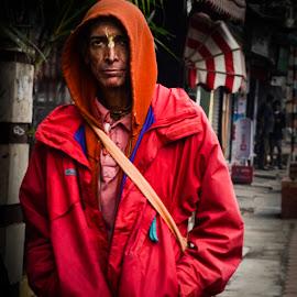 The Monk by Prasanta Das - People Portraits of Men ( monk, hooded, portrait )