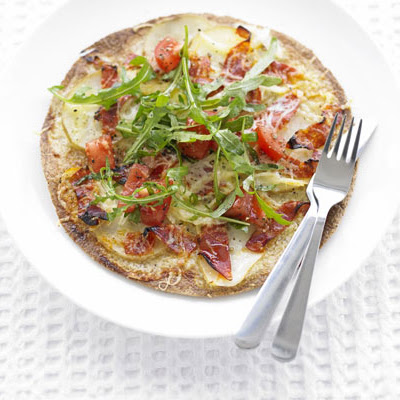 Potato & Chorizo Pizza Breads With Peppery Tomato Salad