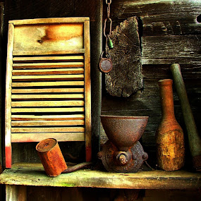 The Washboard by Julie Dant - Digital Art Things ( interior, pioneer, chains, cabins, shelf, tin cans, old washboards, log cabin, rustic )