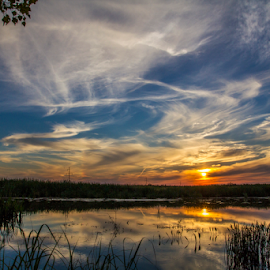 Sky painting by Diaconu Daniel - Landscapes Sunsets & Sunrises ( water, sky, blue, sunset, sun )